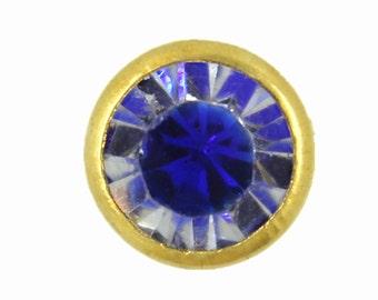 Blue Glass Rhinestones Rivets Studs - 0.31 inch - 10 pieces