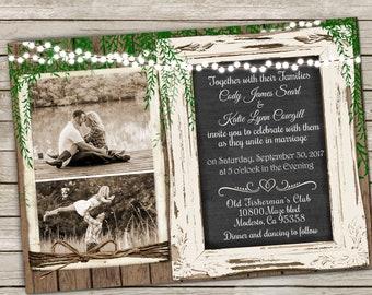 Wood and Lace Wedding Invitation, Chalkboard Wedding Invitation, Rustic Wood and Greenery with Photo, Shabby Chic invite