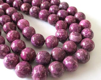 "Pink Magenta Jasper Beads - Mosaic Round Beads - Natural Smooth Stone - Drilled Snake Skin Beads - 12mm - 16"" Strand - DIY Necklace Jewelry"