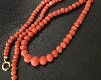 Victorian 1800 Red Coral Necklace Graduated sizes Carved Corals 18 inch