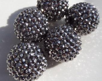 24mm, 5CT. Gun Metal Grey Rhinestone Ball Chunky Beads, glitter beads, G3
