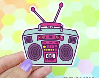 Boombox Laptop Decal, Hip Hop Sticker, Growler Sticker, Bass, 90s Vinyl Sticker, Radio Vinyl Sticker,  Retro Stereo Sticker, Vintage Boombox