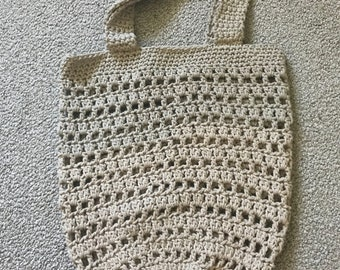 Lily Sugar and creme cotton  'Jute' crochet market/multi-use tote bag. handmade