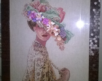 Picture Victorian Elegance. Cross stitch, ribbon embroidery. Hand made.