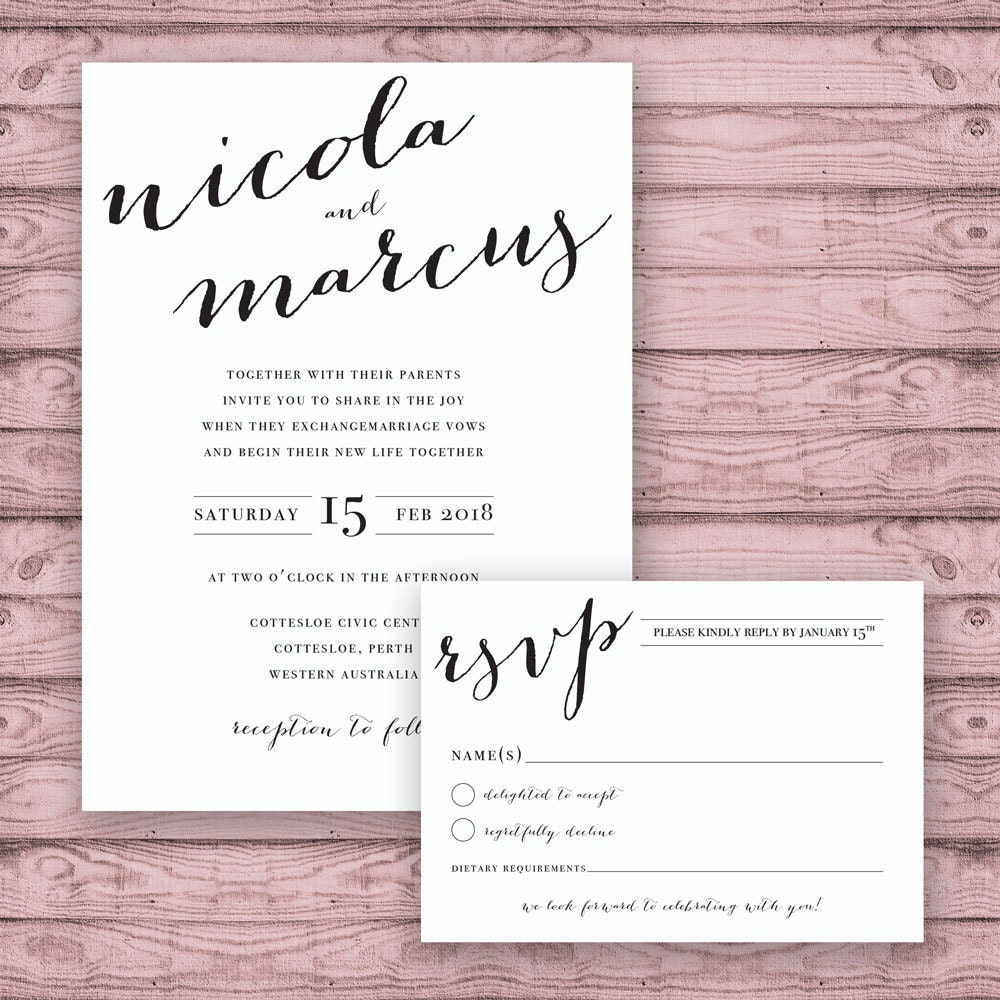 Calligraphy Wedding Invitation Suite - Print at Home Files or ...