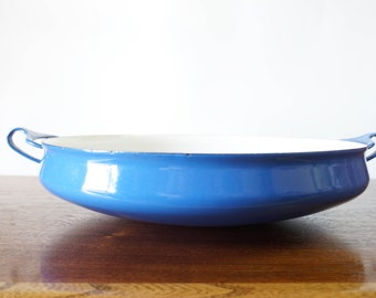 Vintage Dansk Kobenstyle blue large paella pan Made in France Jens Quistgaard
