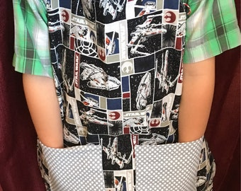 Kids Apron- Play apron,  Cooking apton, Star Wars apron, reversible apron