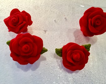 Polymer clay red roses,Valentine's Day,roses,flowers,clay ,polymer clay,Mother's Day gifts,clay art,red roses,weddings,cupcake toppers