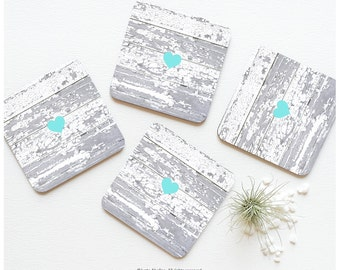 Coaster Set of 4 Faux Wood Print, Pale Wood Heart Coasters, Weathered Wood Gray Print Coaster Set, Teal Heart Wood Print Coasters T3
