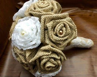 Burlap and Lace Bouquet, Rustic Bouquet, Burlap and Lace Roses, Bride's Bouquet, Burlap and Lace Weddinb, Rustic Wedding, Burlap Flowers