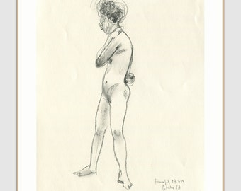 Female Nudity - ORIGINAL charcoal drawing - nude drawing of woman - figure studies by Catalina