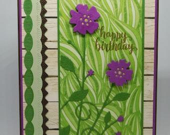 Violet Flower Birthday Card