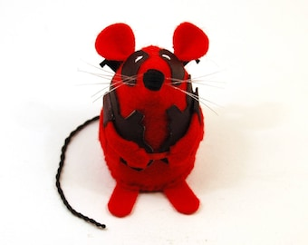 Deadpool Mouse - collectable art rat artists mice felt mouse cute soft sculpture toy stuffed plush gift for Marvel Ryan Reynolds fan
