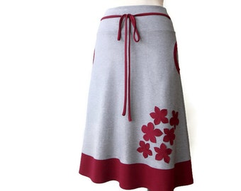 A line Skirt, Jersey Skirt with Pockets, Plus size Skirt, Elastic waist skirt, Grey Skirt with Applique, Handmade Skirt, Plus size clothing