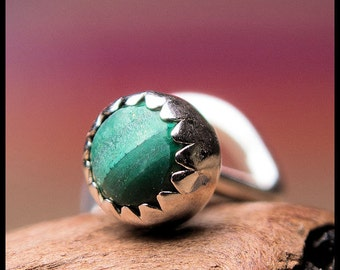 Malachite Nose Stud in Sterling Silver Serrated Bezel -  CUSTOMIZE