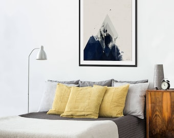Dark Blue Abstract Print. Dark Blue Art. Dark Interiors. Scandi Style Print. Minimal Wall Decor.