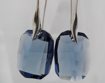 Swarovski earrings, dangle earrings, silver earrings, denim blue