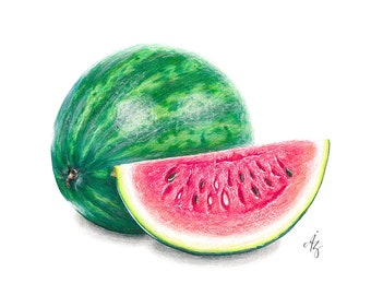 Watermelon Art Print, Watermelon, Realistic Art, Wall Decor, Kitchen Art, Fruit Art, Fruit, Foodart, Food Art