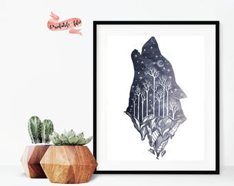 Wolf Mountain Silhouette Digital Download for Print, Printable Art, Watercolor Printable, Wolf Watercolor Mountains, Wolf Tree Silhouette