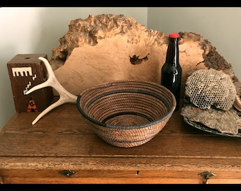 Pine Needle Basket- Grey and black thread
