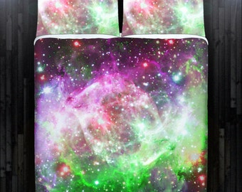 Nebula Planet Outer Space Galaxy Bedding Duvet Cover Queen Comforter King Twin XL Size Blanket Sheet Set Baby Crib Toddler Daybed Kids Bed