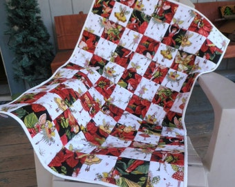 Nymphs and Fairies Quilt, Fairy Patchwork Quilt, Red and White Quilt, Baby Quilt