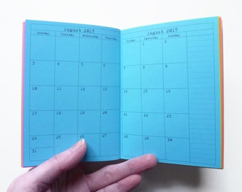Traveler's Notebook, Passport Size, Month on 4 pages, Rainbow