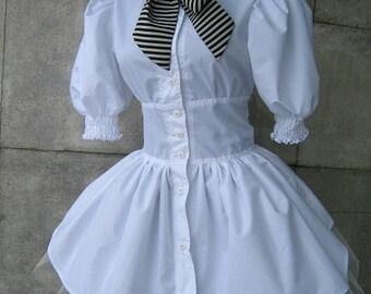 irregular white shirt - tunic with crinoline