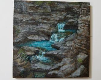 Waterfall - falls - Watkins Glen State Park - acrylic painting on wood panel