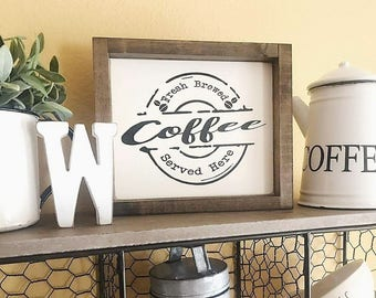 Fresh Brewed Coffee Sign. Coffee Bar sign. Kitchen decor. Rustic sign. Rustic framed sign. Coffee station.
