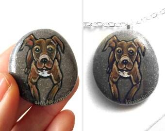 Pet Portrait Stone, Pit Bull Lover, Rock Painting, Dog Rescue Gift, Memorial Art, Dog Owner Gift, Pitbull Necklace, Pet Keepsake