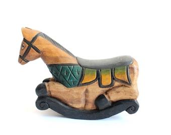 Folk Art Rocking Horse, Carved Wooden  Sculpture