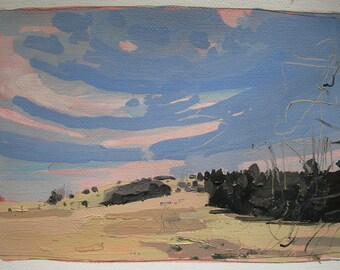 Wendy's Hill, Spring Equinox, Original Landscape Painting on Paper, Stooshinoff