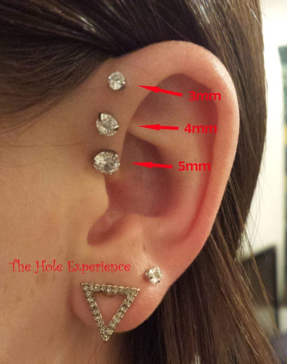 On Sale Triple Forward Helix 3mm 4mm 5mm Prong Set Gems