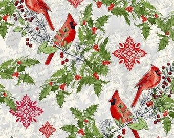 Half Yard Fabric-Seasons Greetings-Windham Fabrics-Whistler Studios-Cardinals