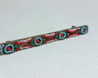 Micro Mosaic Bar Pin Brooch, Italy, Grand Tour Souvenir