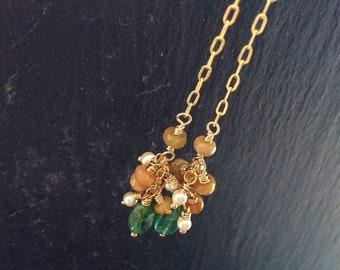 Emerald long cluster earrings, opal and pearl earrings, delicate and dainty drop earrings, pretty and feminine gemstone earrings