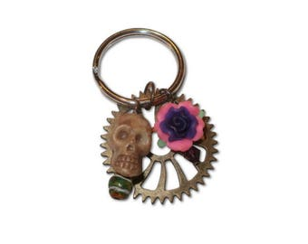 Skull and Flower Keychain