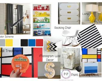 Kids Room Design, E-Design service, Mood Boards, Interior Design for kids, interior design service, Childrens Room Design