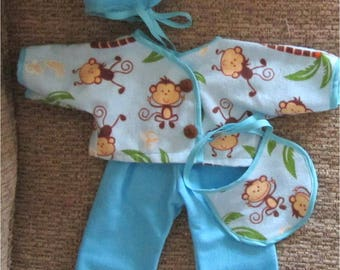 """Aqua Blue Brown White Monkey Jungle Print Pants Top Bonnet Bib Booties 5 Piece Layette Set Fits Bitty Baby Doll or Other 15"""" Baby Dolls"""