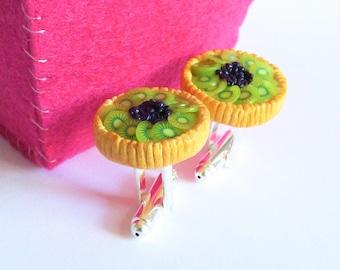 Kiwi Blueberry Tart Cufflinks - Miniature Food Art Jewelry Collectable - Schickie Mickie Original 100% handmade