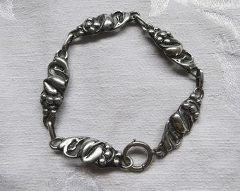Sterling Art Nouveau Bracelet, Berries and Leaves, Panels and Links, Vintage Art Nouveau Jewelry
