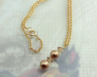Pearl and Crystal Bridesmaid Pendant Necklace Golden Swarovski, Other Color Choices N12109