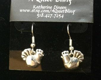 Pewter chicken earrings