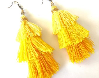 Yellow 3-tier layered tassel colorful earrings. Bohemian earrings. Chandelier earrings. Cinco de Mayo accessories. Bright colorful dangles.