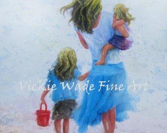 Mother Daughters Beach Blondes Art Print, two sisters, two blonde girls beach mom, blonde mother wall decor, beach art,Vickie Wade Art