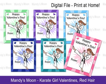Karate / Martial Arts Girl Valentines - Red Hair - Digital File, Print at home Valentine Cards