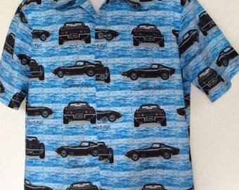 Men's handmade 1980 Corvette Stingray car button up shirt