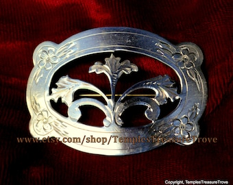 Floral Engraved Stamped Sterling Silver Traditional Oval Brooch Pin Estate Find With Patina Circa 1930