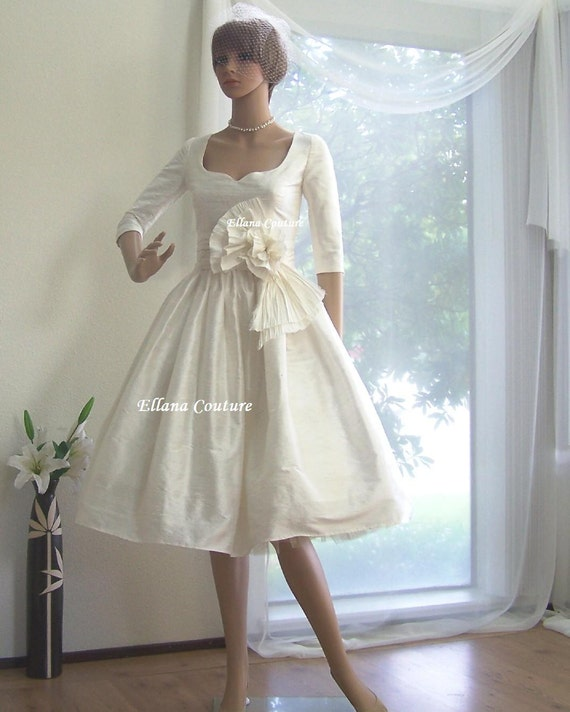 Sapphire Bridal Vintage Wedding Dress 3 4 Sleeve White: Marianne Vintage Inspired Wedding Dress With 3/4 Sleeves